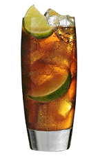 The 100 Cola is a brown colored drink made from Southern Comfort 100 Proof, lime and cola, and served over ice in a highball glass.