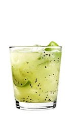 The 42 Below Kiwi Caipiroska drink recipe is a Brazilian and New Zealand inspired cocktail recipe made from 42 Below Kiwi vodka, simple syrup, kiwi and lime, and served over ice in a rocks glass.