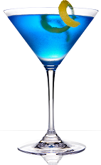 The 901 Blue cocktail recipe is a blue colored drink made from 901 Silver tequila, blue curacao, lemon-lime soda and sweet and sour mix, and served in a chilled cocktail glass garnished with an orange twist.