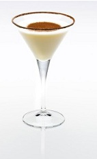 The Almond Joy is a cream colored cocktail made from Disaronno, white chocolate liqueur and cream, and served in a cocoa-rimmed cocktail glass.