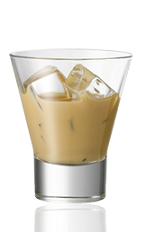The Amarula on Ice is a brown colored drink made with Amarula and served over ice in a rocks glass.