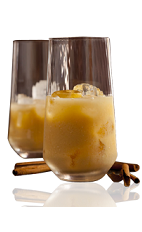 The Amarula Spice is made from Amarula, mango juice and cayenne pepper, and served over ice in a highball glass.