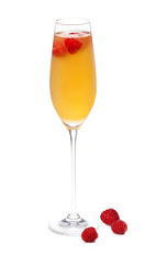 The Amore Frizzante, or more simply Sparkling Love, is an orange colored cocktail recipe destined to become a signature wedding drink. made from Gran Gala Triple orange liqueur, vodka, peach juice, prosecco and raspberries, and served in a chilled champagne flute.