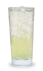 The Apple Sour is made from Pucker sour apple schnapps, sour mix and club soda, and served over ice in a highball glass.