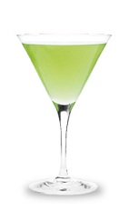 The Appletini is a green cocktail made from Pucker sour apple schnapps, vodka and sour mix, and served in a chilled cocktail glass.