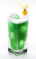 The Artlantic is a green cocktail made from Disaronno, dark rum, blue curacao, apple juice and lemon juice, and served over ice in a highball glass.