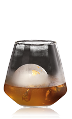 The Aurum is an orange drink made from Bacardi 8 year old rum, Noilly Ambre, bitters and water, and served over ice in a rocks glass garnished with a gold leaf.