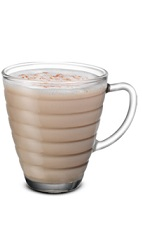 The Bailey's Chai drink is a brown colored drink made from Baileys Irish cream, Smirnoff vanilla vodka, hot chai tea and cinnamon, and served in a warm coffee glass.