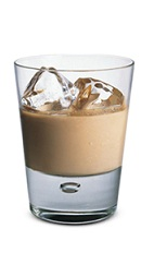 The Bailey's Coquito is a brown colored drink made from Bailey's Irish cream and Malibu coconut rum, and served over ice in a rocks glass.