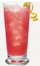The Beachcomber is a non-alcoholic tropical drink recipe made from guava nectar, raspberry syrup and lime juice, and served over ice in a Collins glass.