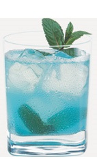 The Berry Blast is a blue colored drink recipe made from Burnett's blueberry vodka, Hpnotiq liqueur and lemonade, and served over ice in a rocks glass.