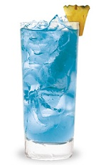 The Blue Hawaiian is a classic tropical blue drink made from blue curacao, vodka, pineapple juice and sour mix, and served over ice in a highball glass.