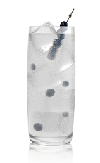 The Blueberry Soda drink is made from Stoli Blueberi blueberry vodka, club soda and lime juice, and served over ice in a highball glass.
