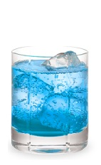The Blues on the Rocks is a blue drink made from peach schnapps, blue curacao and club soda, and served over ice in a rocks glass.