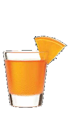 The 3-O Boomerang shot recipe is an orange colored shot drink made form Three Olive Rangtang orange vodka, and served in a shot glass.