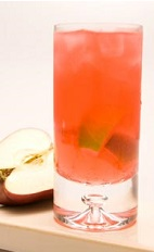 The Candy Apple Caipirinha is a Brazilian way to throw a Halloween party. Made from Leblon cachaca, red apple liqueur, lemon-lime soda, sour mix and lime, and served over ice in a highball glass.