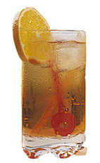The Cassis Cooler drink recipe is made from Chymos crème de cassis, grapefruit juice and ginger ale, and served over ice in a highball glass garnished with an orange slice.