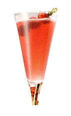 The Chambord Soulmate is made from Chambord raspberry liqueur, champagne and cranberry juice, and served in a chilled champagne glass.