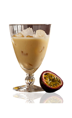 The Citrus Passion is a cream colored drink made from Amarula cream liqueur, Cointreau orange liqueur, passion fruit and cream, and served over ice in a parfait glass.