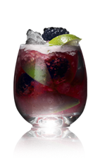 The Danzka Rouge is a red colored cocktail recipe made from Danzka currant vodka, red wine, lime, blackberries and sugar, and served over ice in a rocks glass.