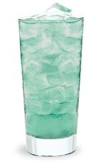 The Desert Island is a turquoise colored drink made from cactus flavored schnapps, Pucker Island Punch schnapps and club soda, and served over ice in a highball glass.