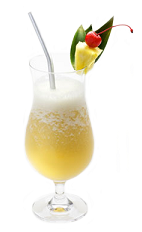 The Disaronno Colada is a yellow colored drink made from Disaronno liqueur, colada mix and crushed ice, and served in a chilled hurricane glass.