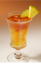The Easy Beach Sling is a relaxing tropical drink recipe, perfect for a lazy summer afternoon. An orange colored drink made from Clamato tomato cocktail, gin, triple sec, pineapple juice and lime, and served over ice in a sling glass.