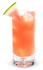 The Electrolyte is a refreshing pink summer drink made from New Amsterdam gin, watermelon, pineapple juice, lemon juice and sugar, and served over ice in a highball glass.