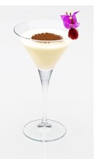 The Elixir of Love is a tempting and romantic cream colored cocktail made from Disaronno, rum, Godiva chocolate liqueur and cream, and served in a chilled cocktail glass.
