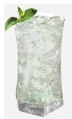 The Winter Fizz drink recipe is made from Burnett's candy cane vodka and lemon-lime soda, and served over ice in a highball glass.