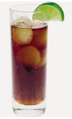 The Fluke cocktail recipe is a brown colored drink made from Burnett's spiced rum, cola and lime, and served over ice in a highball glass.