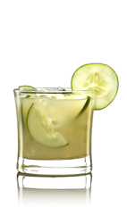 The French Pear drink recipe is made from Lucid absinthe, pear juice, simple syrup, lemon juice and cucumber, and served over ice in a rocks glass.