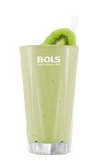 The Fruit Smoothie is a tropical green drink made from Bols Natural Yoghurt liqueur, kiwi, pineapple and mango, and served in a chilled highball glass.