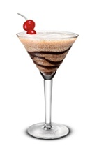 The Gaelic Mudslide is a brown colored cocktail made from Bailey's Irish cream, vodka, chocolate and crushed ice, and served in a chilled cocktail glass.