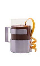 The Grand Marnier Hot Chocolate is a warm and welcoming brown drink made from Grand Marnier and hot chocolate, and served in a coffee mug.
