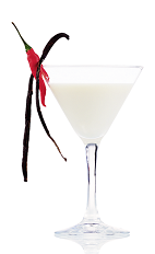 The Hot and White is a sexy and spicy cream colored cocktail made from vanilla vodka, Mozart White chocolate liqueur, heavy cream, absinthe, vanilla and chili, and served in a chilled cocktail glass.