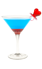 The Hpnotiq Heartbreaker is a blue drink cocktail made from Hpnotiq liqueur, raspberry vodka, club soda and grenadine, and served in a chilled cocktail glass.