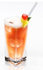 The Hurricane Disaronno is an exciting orange drink made from Disaronno, white rum, dark rum, passion fruit juice, sweet & sour mix and grenadine, and served with fruit over ice in a highball glass.