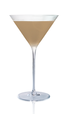 The Karamel Pretzel Martini is made from Stoli Salted Karamel vodka, frozen yogurt and chocolate syrup, and served in a chilled cocktail glass.
