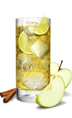 The Key Lime Delight is an orange colored drink made form Smirnoff whipped cream vodka, Smirnoff lime vodka, simple syrup, orange bitters, lime juice and ginger ale, and served over ice in a highball glass.