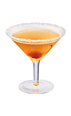 The King's Treasure cocktail is made from Chambord flavored vodka, Cognac and pineapple juice, and served in a sugar-rimmed cocktail glass.