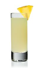 The Kokonut Paradise Shot is made from Stoli Chocolat Kokonut vodka and pineapple juice, and served in a chilled shot glass.