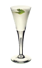 The Left Bank Martini is a clear colored cocktail made from gin, St-Germain elderflower liqueur and white wine, and served in a chilled cocktail glass.