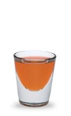 The Lit Fuse is an orange shot made from Hot Damn! cinnamon schnapps and Pucker watermelon schnapps, and served in a chilled shot glass.