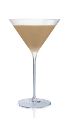 The Macchiato Martini is made from Stoli Salted Karamel vodka, coffee liqueur and milk, and served in a chilled cocktail glass.