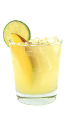 The Mango Tango is a yellow colored drink made from Smirnoff Mango vodka, banana liqueur, pineapple juice and lime juice, and served over ice in a rocks glass.