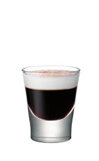 The Mellow Cocoa is a brown colored shot made from Smirnoff marshmallow vodka, hot cocoa, marshmallow and nutmeg, and served in a shot glass.