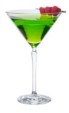 The Midori Cosmopolitan cocktail is made from Midori melon liqueur, citrus vodka, cranberry juice and lemon juice, and served in a chilled cocktail glass.