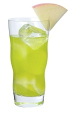 The Midori La Pomme drink is made from Midori melon liqueur, cognac, lemon juice and apple juice, and served in a highball glass over ice.