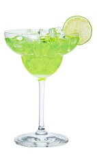 The Midori Margarita is made from Midori melon liqueur, tequila and sweet and sour mix, and served in a chilled margarita glass.